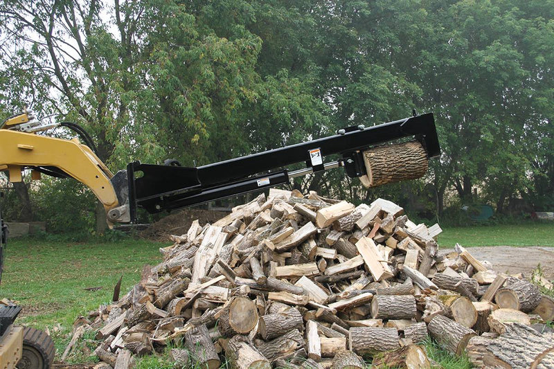 Split logs on the ground or elevated for easy loading