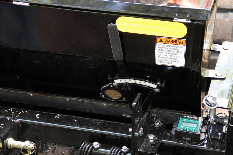 Seeder level control and sight glass in the seed box gives the operator a view of the seed level