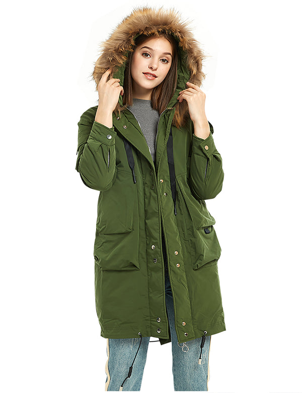 ilishop Women's Thickened Long Down Jacket Hooded Parka Winter Puffer Coat