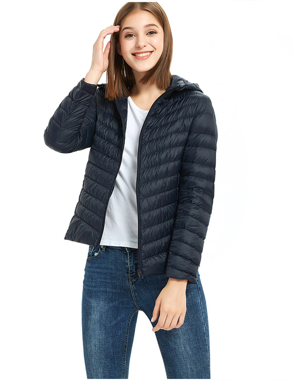 ilishop Women's Packable Short Down Jacket Lightweight Hooded Coat Outwear Puffer