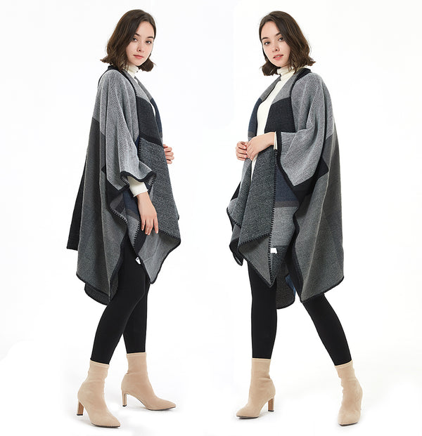 ilishop Women's Winter Reversible Oversized Blanket Poncho Cape Shawl Cardigans