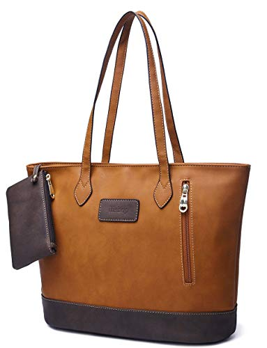 ilishop Women's PU Leather Tote Handbag Contrast Color Shoulder Bag