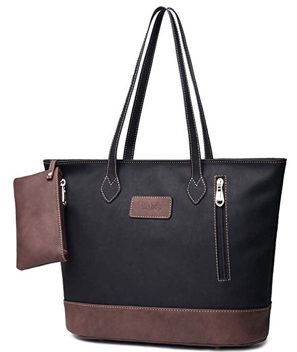 5c82b2d9a1f ilishop Women s PU Leather Tote Handbag Contrast Color Shoulder Bag
