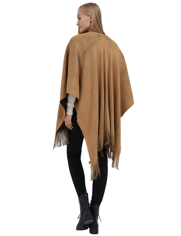 ilishop Women's Winter Knitted Cashmere Poncho Capes Shawl Cardigans Sweater Coat