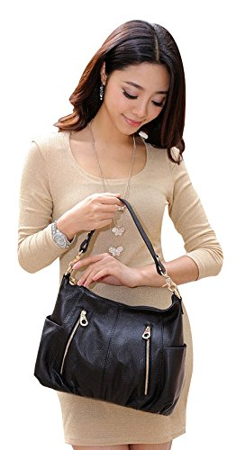 ilishop Women's Fashion Genuine Leather Cross Body Shoulder Bag Satchel Handbag