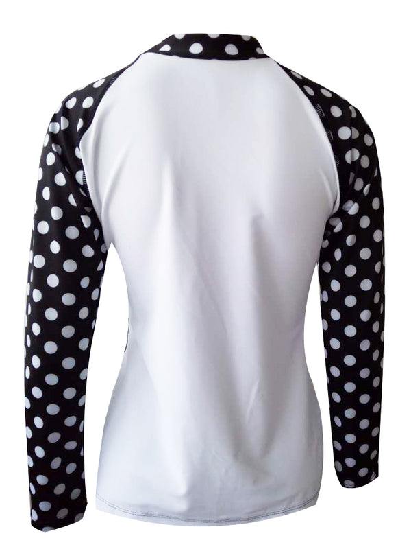 ilishop Women's UV Sun Protection Long-Sleeve Dot Swimwear