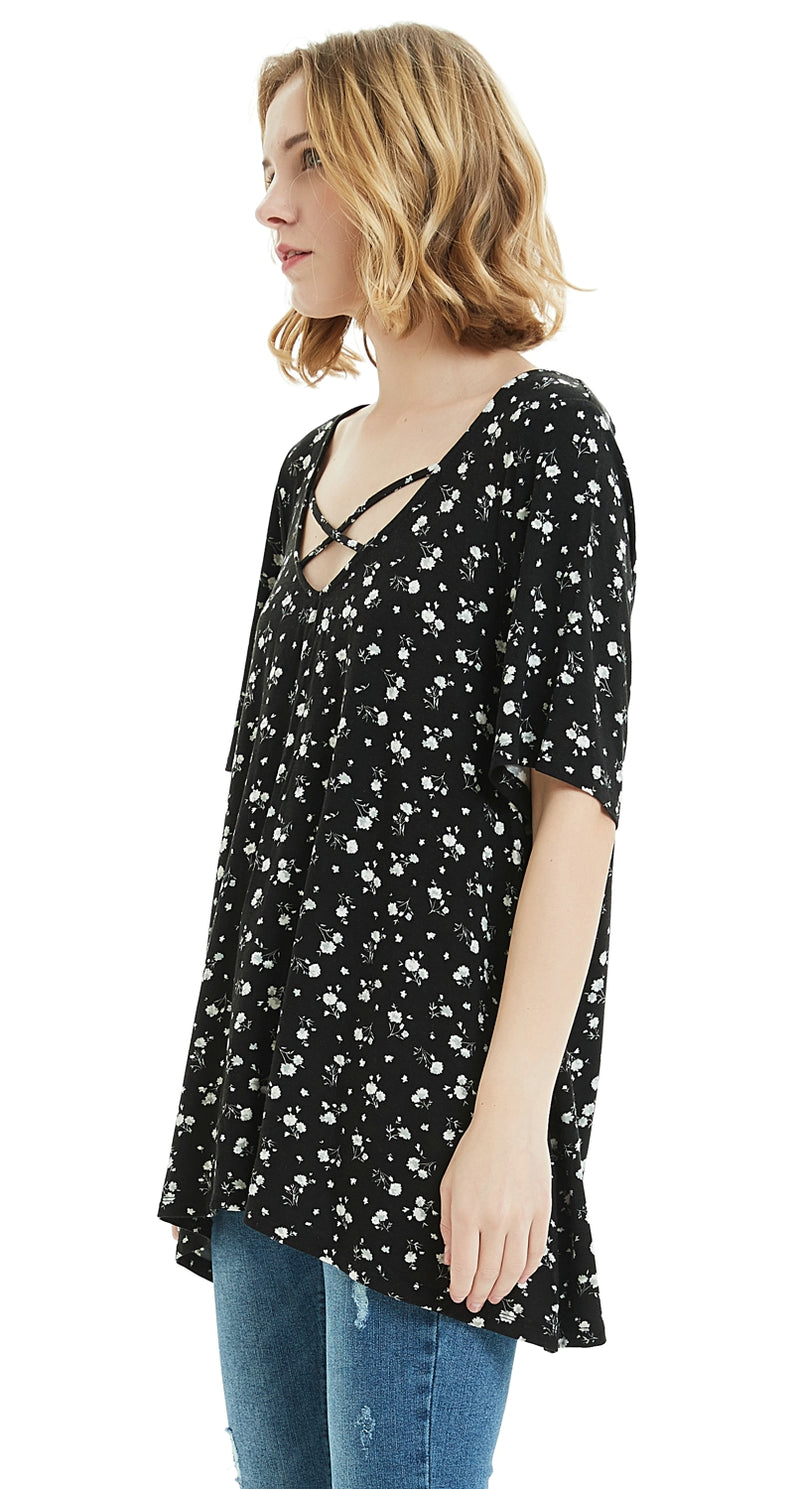 ilishop Women's Casual Short Sleeve T-Shirt Cross Front V-Neck Printing Tops Plus Size Tunic