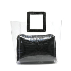 ilishop Waterproof Clear Classical Tote Beach Bag for Women, Shoulder Handbag Purse for NFL & PGA Stadium Approved
