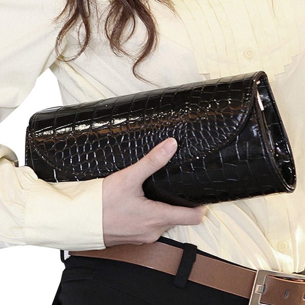 ilishop Women's Envelope Clutch Patent Croc Skin Party Clutch Fashion Shoulder Bags For Lady