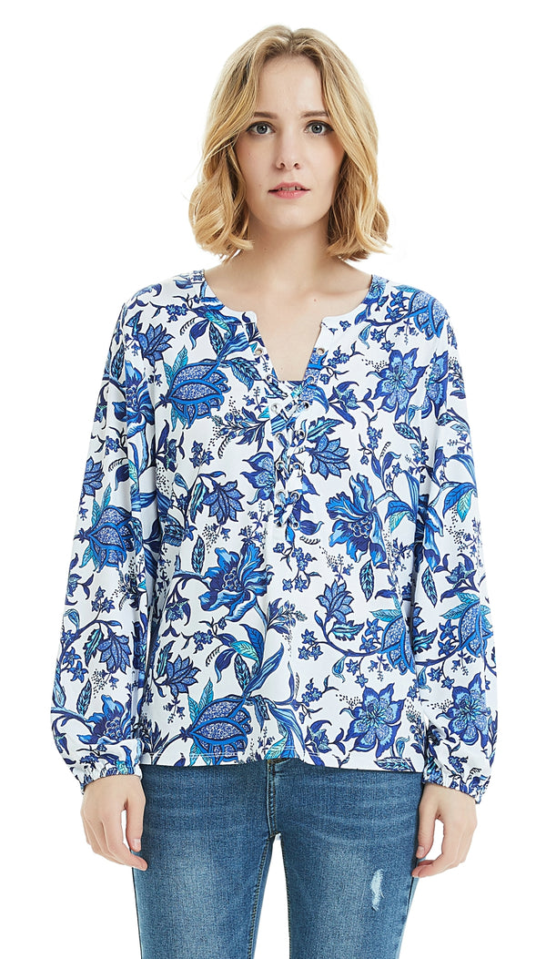 ilishop Women's Flora Printed Long Sleeve Henley V Neck Tunic Casual Blouse Shirt