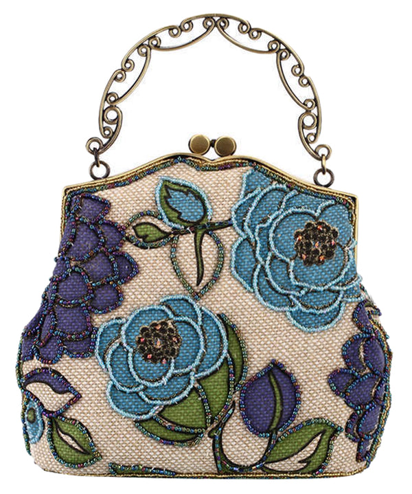ilishop Women's Vintage Luxury Printing Beaded Women Handbag Evening Bag