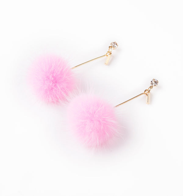 ilishop Fashion Fur Pom Pom Ball Dangle Earrings