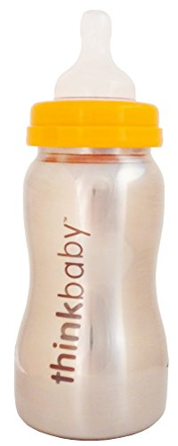 Thinkbaby Stainless Steel Baby Bottle, Silver, 9 Ounce