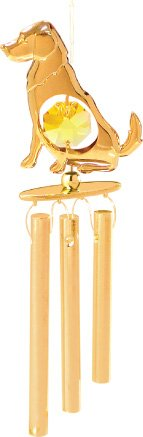 24K Gold Plated Wind Chime Sun Catcher Or Ornament..... Golden Retriever With Yellow Swarovski Austrian Crystal