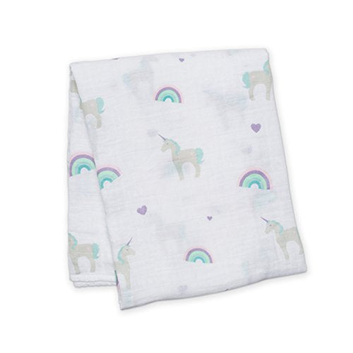 Lulujo Baby Cotton Muslin Swaddling Blanket, Rainbows And Unicorns