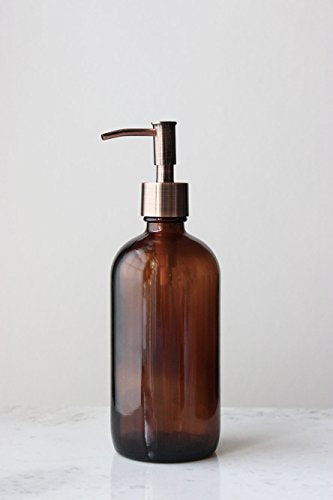 Market Amber Glass Soap Dispenser W/ Rustic Copper Pump