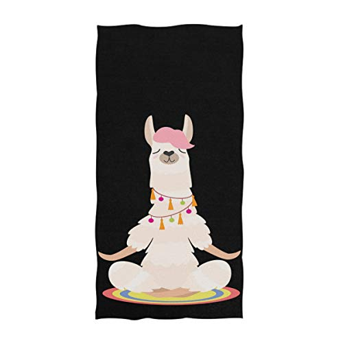 Naanle Cute Yoga Llama Meditates Isolated Design Soft Absorbent Guest Hand Towels Multipurpose For Bathroom, Hotel, Gym And Spa (16 X 30 Inches,Black)