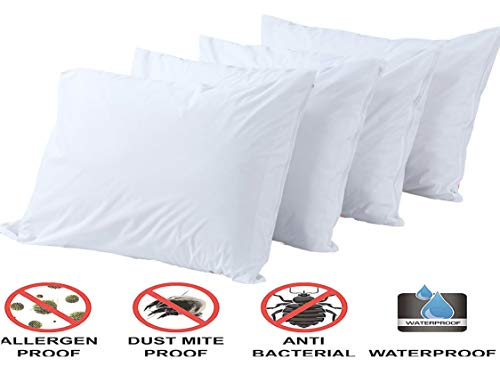 Dust Mite Waterproof Encasement Bed Bug Proof! Standard Size, Set of 2 Pk Standard American Pillowcase Pillow Protectors Zippered Standard Bacteria Pillow Protector Allergy Control Qty 2