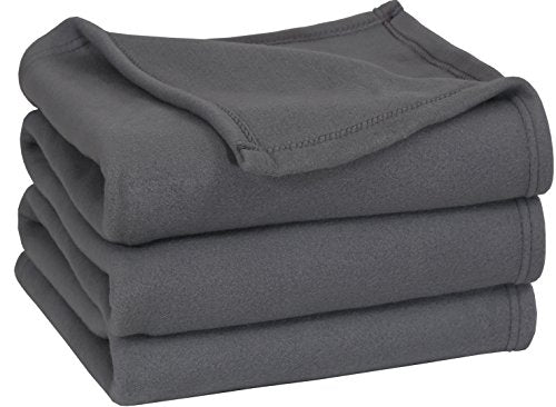 Polar Fleece Blanket (Queen, Grey) - Extra Soft Brush Fabric, Super Warm Bed Blanket, Lightweight Couch Blanket, Easy Care Utopia Bedding