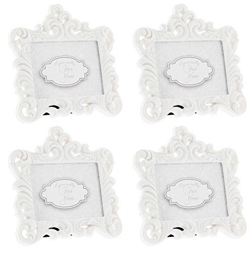 Fashioncraft Set Of 4 Baroque Style White Resin Frames - Holds 2.75 X2  Photo