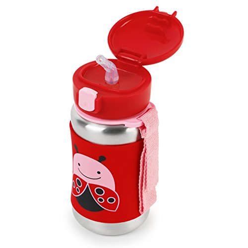 Skip Hop Baby Zoo Little Kid And Toddler Feeding Travel-To-Go Insulated  Stainless Steel Straw Bottle, 12 Oz, Multi Livie Ladybug