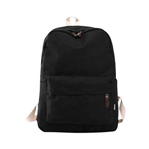 Autumnfall 2017 New Fashion Women Canvas Backpack Girls Preppy Bookbags Travel Bag (Black)