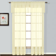 United Curtain Batiste Semi-Sheer Window Curtain Panel, 54 By 45-Inch, Yellow