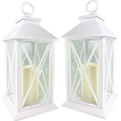 Banberry Designs White Decorative Led Lantern With Cross Bar Design - Lanterns With Flameless Pillar Candles Included - 5 Hour Timer Included - Hanging Or Sitting Decoration - Set Of 2-13  H