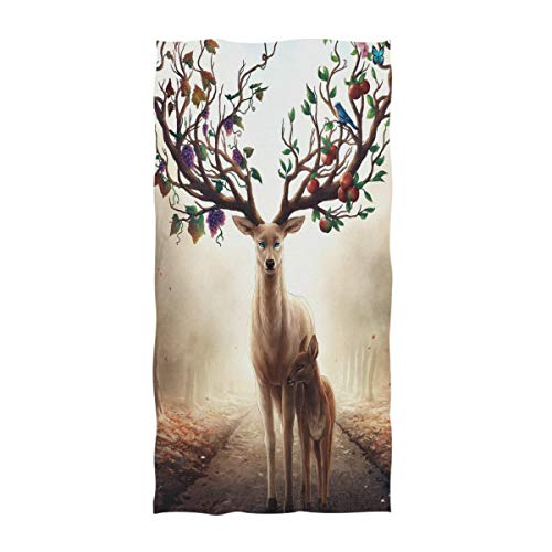 Naanle Magic Forest Deer Family With Abundant Branch Antler Soft Absorbent Guest Hand Towels Multipurpose For Bathroom, Hotel, Gym And Kitchen (16  X 30 )