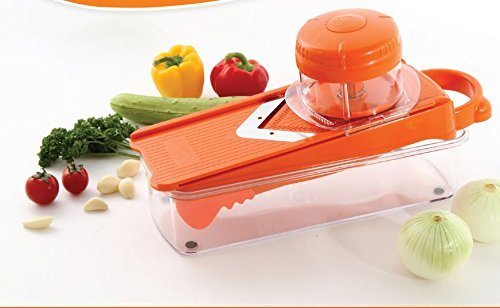 Gomdori Mandoline Slicer - Free Vegetable Chopper & Cabbage Cutter (Orange)