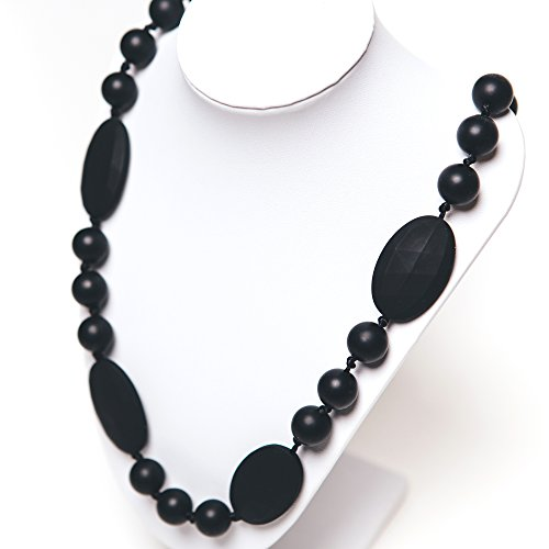 Silicone Teething Necklace - 12 Color Choices - Baby Safe For Mom To Wear - Bpa-Free Beads To Chew - Stylish & Natural  Cora  (Black)