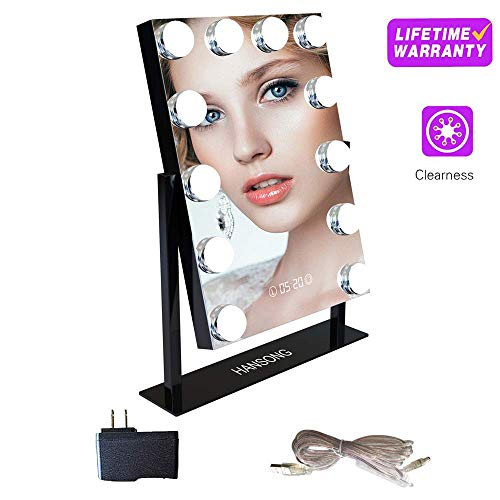 Vanity Mirror With Lights - Professional Makeup Mirror &Amp; Lighted Vanity Makeup Table Set With Smart Touch Adjustable Led Lights, White Vanity Mirror, Digital Clock &Amp; Steel Frame