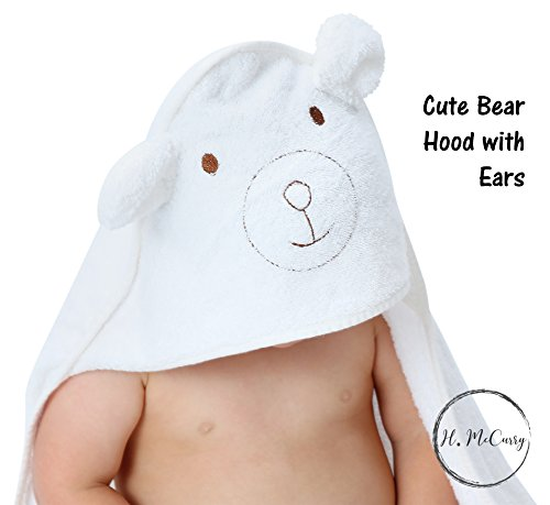 Bamboo Hooded Baby Towel By H. Mccurry: 100% Organic Unisex Towel, Highly Absorbent And Super Soft  Hypoallergenic And Antibacterial Bath Towel For The Pool And The Beach  Great Baby Shower Gift