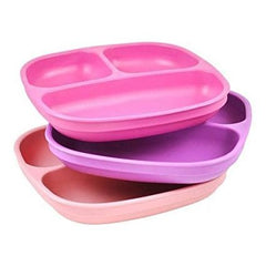 Re Play Divided Plates For Babies And Toddlers (Set Of 3 - Dark Pink, Light Pink, Lavender)