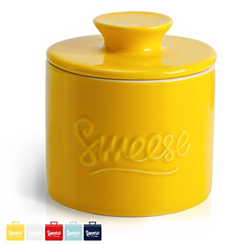 Sweese 3105 Porcelain Butter Keeper Crock - French Butter Dish - No More Hard Butter - Perfect Spreadable Consistency, Yellow