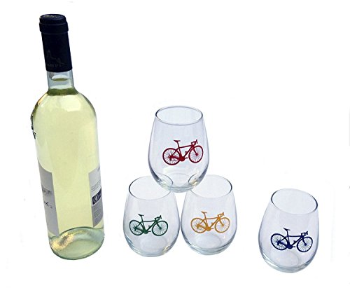 Road Bike Stemless White Wine Glasses - Set Of Four