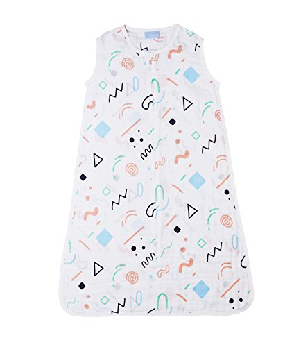 Lightweight 100% Cotton Muslin Baby Sleeping Bag/ Sleep Sack /Wearable Blanket, Tog 0.5, Geometry M, Newborn To Toddler, For Boys And Girls