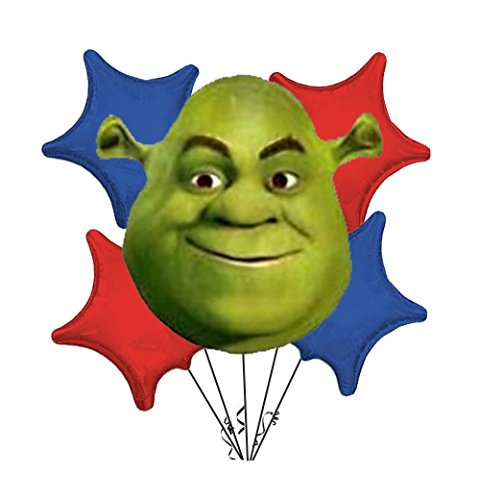 Shrek Birthday Balloon Bouquet Blue/Red (5/Pkg) Pkg/1