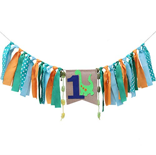 Dinosaur Theme High Chair Banner Baby'S First Birthday Fabric Bunting Garland