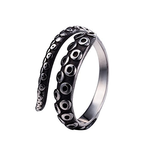 Happy Hours - Unique Titanium Steel Alloy Ring / Vintage Octopus Tentacles Shape Personal Decoration / Unisex Stainless Steel Adjustable Anti-Allergic Phantom Ring(Size7)