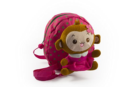 Baby Rae Toddler Kid Walking Safety Leash Backpack With Detachable Cute Monkey Stuff Animal (Pink Monkey)