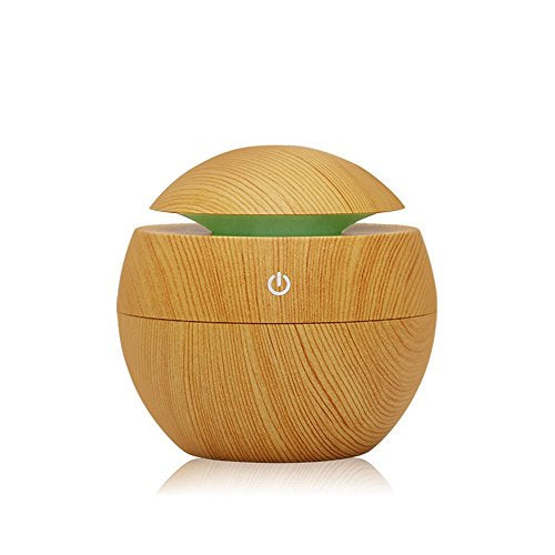 Wooden Aroma Diffuser Humidifier, Victhy Essential Oil Diffuser Air Purifier Portable Grain 130Ml Touch Sensitive 6 Color Led Lights Changing For Home, Office, Baby Room, Bedroom