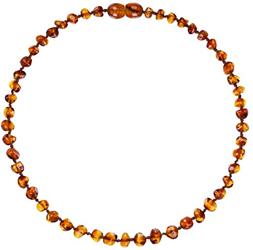 Mommys Touch 100% Natural Amber Teething Necklace (Cognac) - Anti-Inflammatory & Teething Pain Reducing Properties Unisex Necklace With Twist-In Screw Clasp