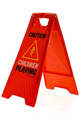 Children Playing Yard And Driveway Caution Sign (Double-Sided, Red) -  Caution, Children Playing