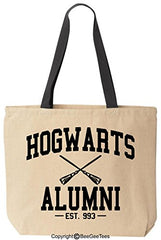 Hogwarts Alumni Funny Harry Potter Reusable Canvas Tote Bag By Beegeetees (Black Handle)