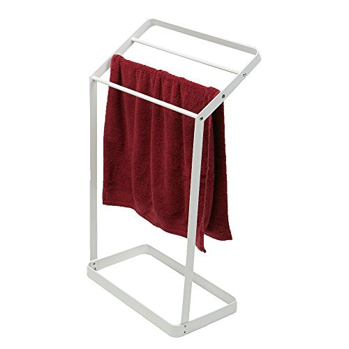 Mind Reader Bathrack-Wht 3 Tier Bath Towel Bar Stand Alone Bathroom Rack, Drying Stand, Towel Valet Holder, Metal, White