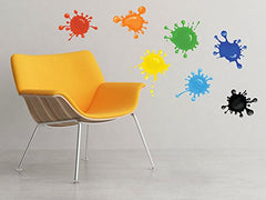 Paint Splatter Fabric Wall Decals - Set Of 7 Ink Splotch Wall Stickers - Non-Toxic, Removable, Reusable, Respositionable