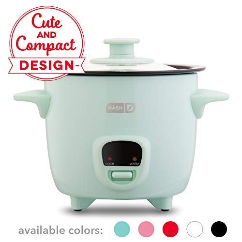Dash Drcm200Gbaq04 Mini Rice Cooker Steamer With Removable Nonstick Pot, Keep Warm Function &Amp; Recipe Guide, Aqua