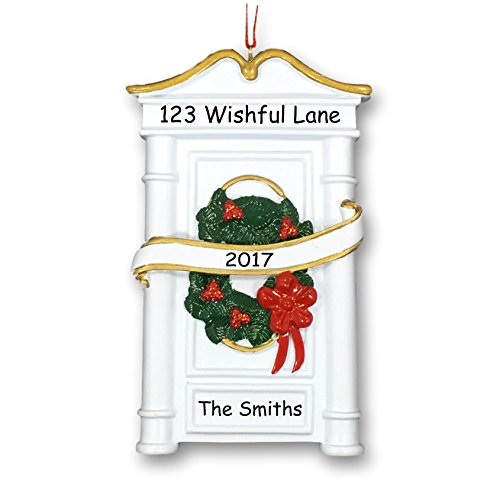 Personalized New Home Our First House Christmas Holiday Decoration Door With Wreath And Ribbon Hanging Christmas Ornament With Custom Name Address And Date (Optional)