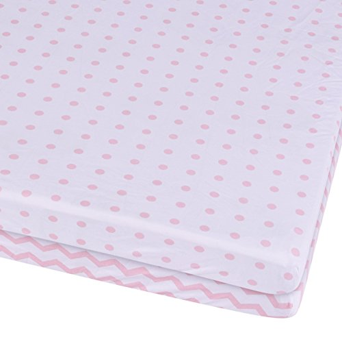 Waterproof Playard Pack N Play Portable Mini Crib Sheet With Mattress Pad Cover Protection, White And Pink Chevron And Polka Dots